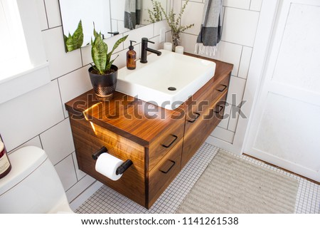 Modern decorated bathroom vanity in a modern white bathroom with natural light and plants.