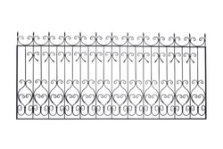 Modern decorative handrails, fences  in old   style. Isolated over white background.