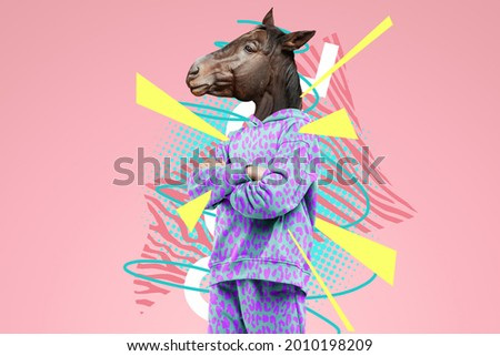 Modern design, a human body with a horse's head, prudence, confidence. Bright trendy colors, shocking art, style for a magazine, fashionable web design. copy space Photo stock ©