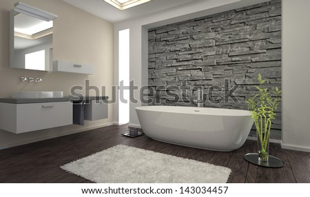 modern design bathroom with stone wall and bathtub stock photo 143034457 shutterstock