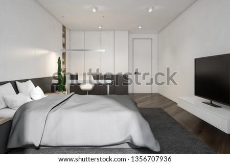 Modern design bedroom interior. 3D rendering. #1356707936