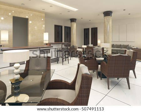 Modern Design Breakfast Room With Rattan Furniture And Glass Tables. 3D  Render.
