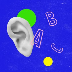 Modern design, contemporary art collage. Inspiration, idea, trendy urban magazine style. Human ear on blue geometrical background. Copy space for ad