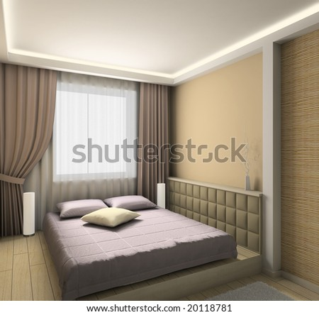 Modern Design Interior Of Bedroom. 3d Render Stock Phot