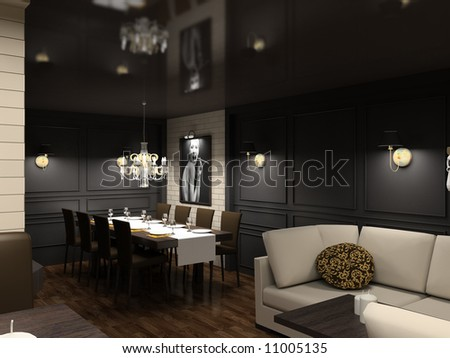 Dining Room on Modern Design Interior Of Dining Room  3d Render Stock Photo 11005135