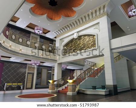 modern design interior of hall,corridor. 3D render