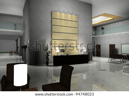 modern design interior of hall,corridor.3d rendered