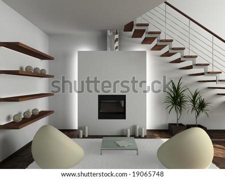 Modern Interior Design on Modern Design Interior Of Living Room  3d Render Stock Photo 19065748