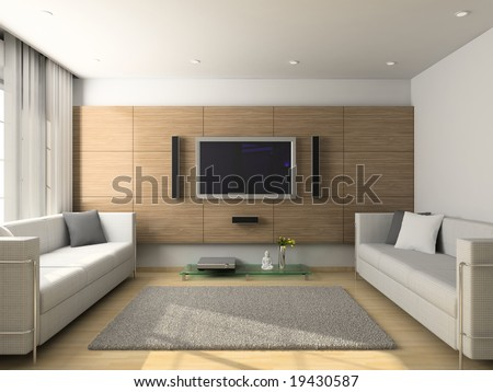 Design Interior Living on Modern Design Interior Of Living Room  3d Render Stock Photo 19430587
