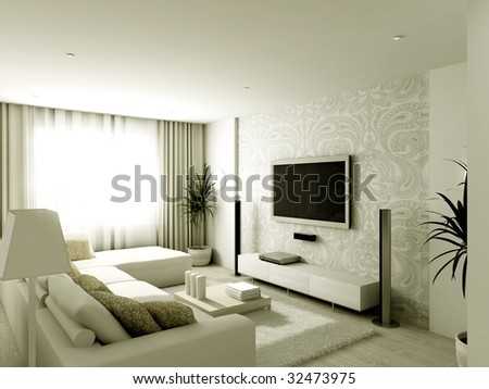 Contemporary Living Room Design on Modern Design Interior Of Living Room  3d Render Stock Photo 32473975