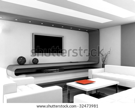 Modern Interior Design  Living Room on Modern Design Interior Of Living Room  3d Render Stock Photo 32473981