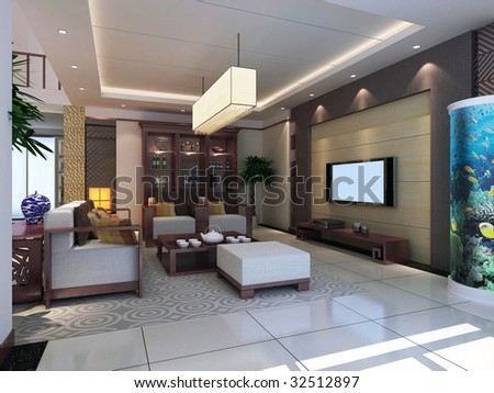 Contemporary Living Room Design on Modern Design Interior Of Living Room  3d Render Stock Photo 32512897