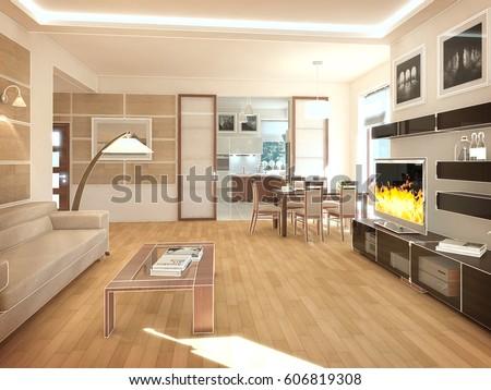 Modern design interior of living-room. 3D render #606819308