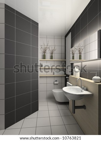 Modern Design Interior Of Toilet. 3d Render Stock Photo 10763821