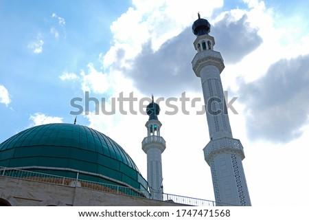 Modern design mosque with two beautiful minarets Stok fotoğraf ©