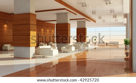 Modern design of an interior of a hall - stock photo