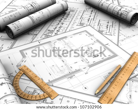 Modern design plan with pencil and rules on it