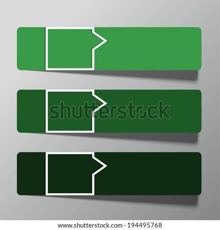 Modern  design template from paper and pointers. Green. can be used for infographics,  numbered banners, graphic or website layout, template for business reports. raster version