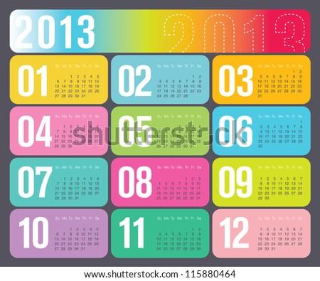 Modern Design 2013 Yearly Calendar
