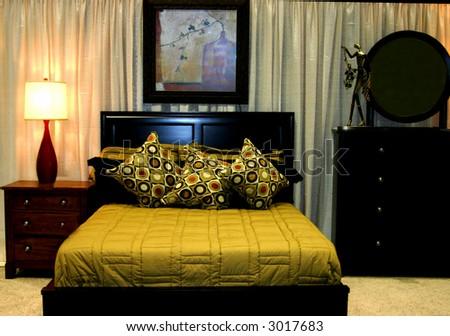 modern designed bedroom - stock photo