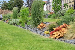 Modern designed garden in the center of Colmar in Alsace Europe