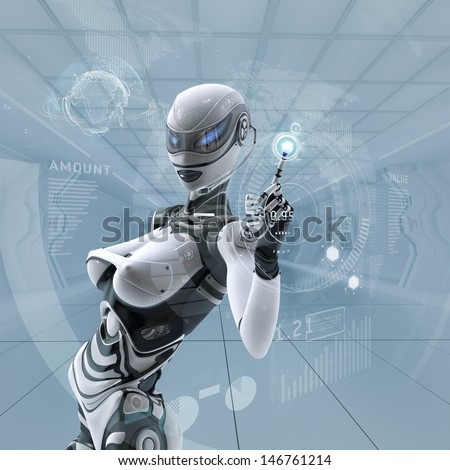 Modern designed interior. Futuristic female android managing virtual interface in digital space