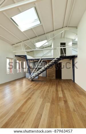 modern designer, apartment with mezzanine