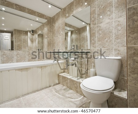 Bathroom Designers on Modern Designer Bathroom With Stone Imitation Ceramic Tiles   Stock