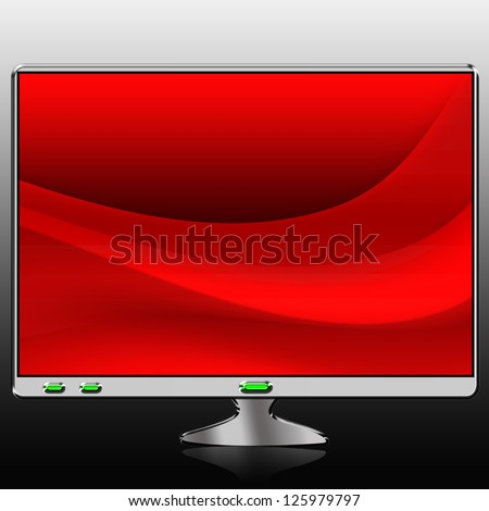 Modern desktop computer monitor or TV with bright color on the screen