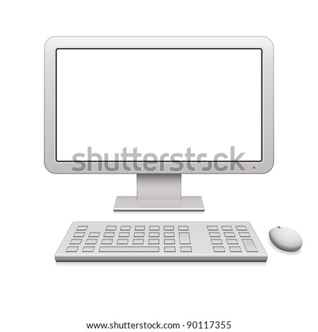 Modern desktop computer with a blank widescreen monitor, wireless keyboard and mouse
