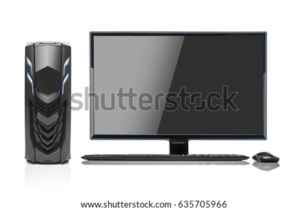 Modern desktop PC. Desktop computer isolated on a white background. #635705966