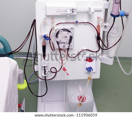 modern device of artificial kidney. The process of dialysis.