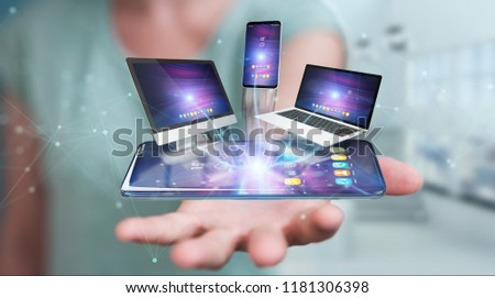 Modern devices connected to each other in businesswoman hand 3D rendering #1181306398
