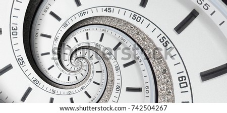 Modern diamond white clock watch twisted to surreal spiral. Abstract spiral fractal clock. Watch clock unusual abstract texture pattern background. Stylish abstract fractal spiral clock time spiral