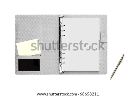 Modern diary note and pen On isolated. - stock photo