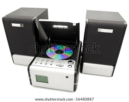 modern digital opened cd player against the white background