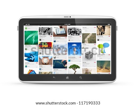 Modern digital tablet computer with social media photo stream interface on a screen. Isolated on white. High quality very detailed realistic object.