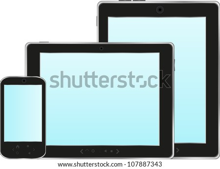 Modern digital tablet PC with mobile smart phone isolated on white - raster