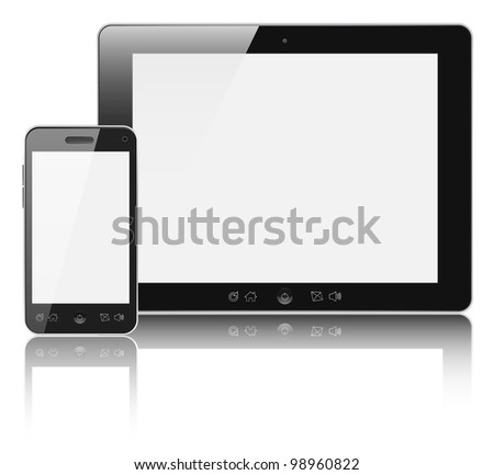 Modern digital tablet PC with mobile smartphone isolated on white