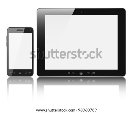 Modern digital tablet PC with mobile smartphone isolated on white background. Clipping path included.