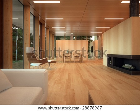 Modern dining corner in wood-paneled home with fireplace (3D render) - stock photo