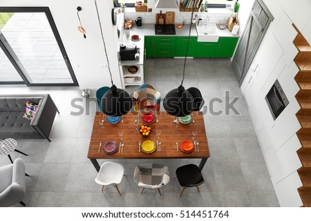 Modern dining room and kitchen - top view