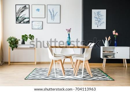 Modern dining room designed in scandi style