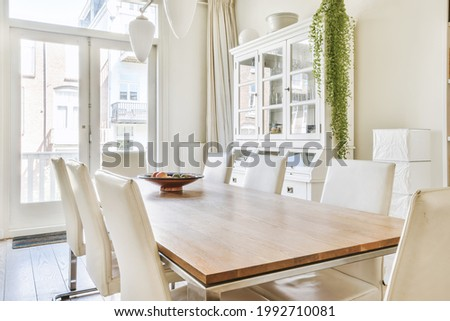 Modern dining room in a luxury house with individual design