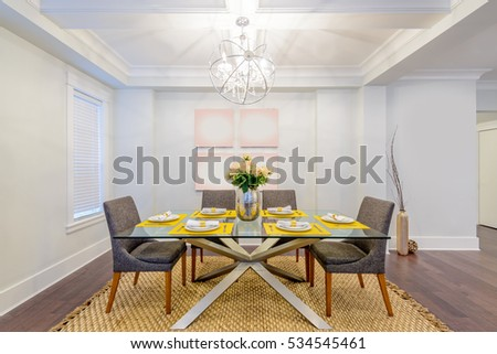 Modern dining room in luxury house. #534545461