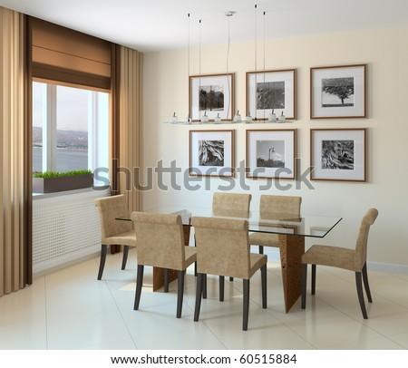 Modern Dining-Room Interior. 3d Render. Stock Photo 605