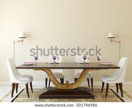 Modern dining-room interior.3d rendering.