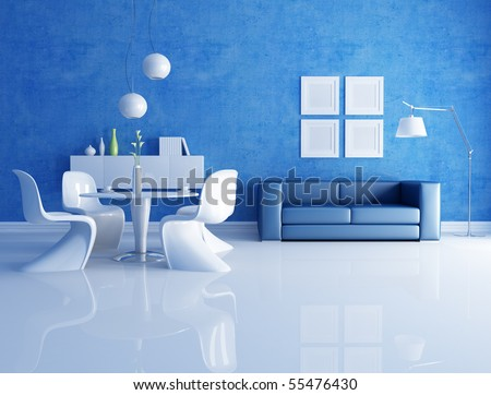 modern  dining room  with blue sofa - rendering