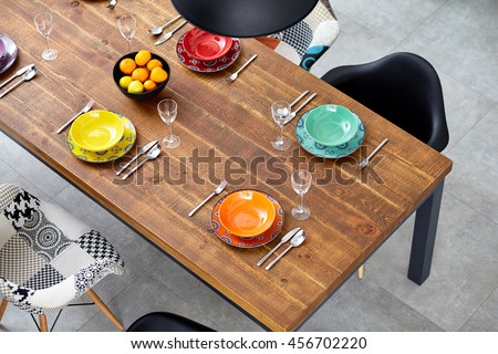Modern dining room with dining table.  Small depth of field #456702220