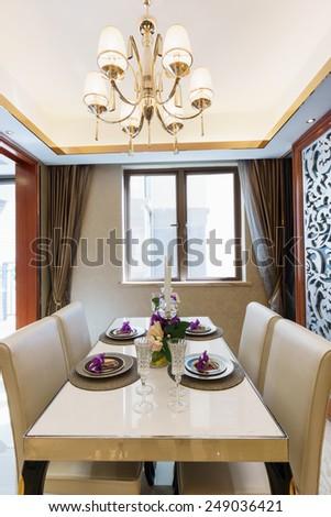 modern dining room with nice tableware